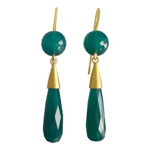 earrings for women with green onyx and yellow gold