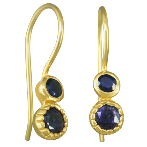 earrings for women in sapphire and yellow gold