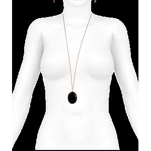 Collar para mujer negro ónix facetado y cadena de oro rosa.