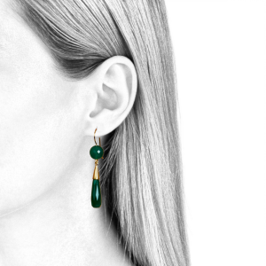 Dangling earrings for women in green onyx and gold