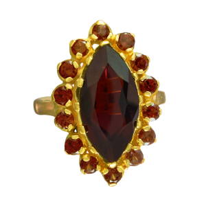 marquise ring for lady in garnets stones and 18 carat gold 5 microns on silver
